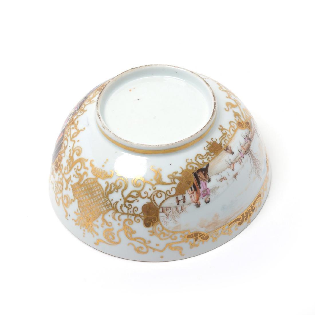 German Porcelain Bowl with Landscape Vignettes, 18th - 10