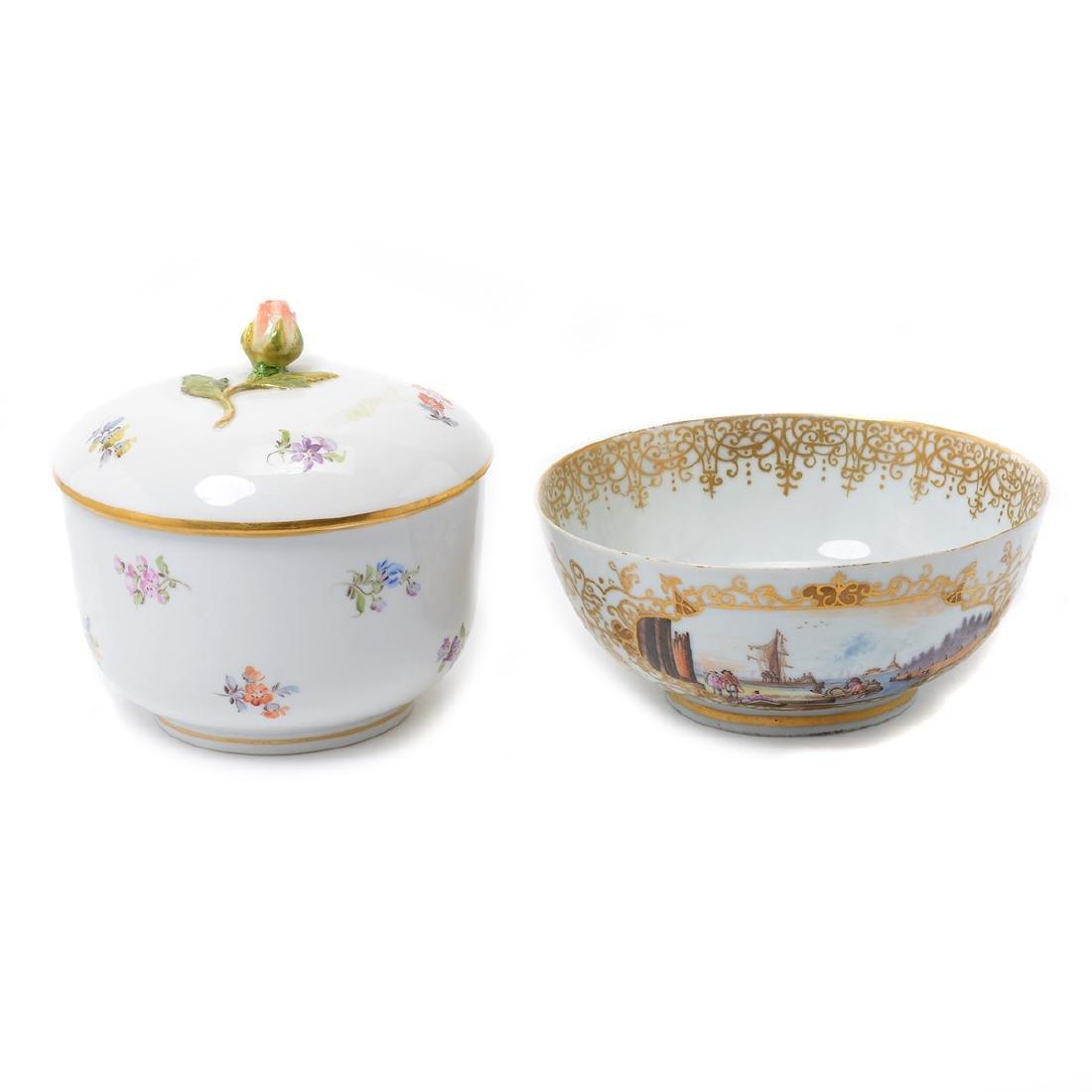 German Porcelain Bowl with Landscape Vignettes, 18th