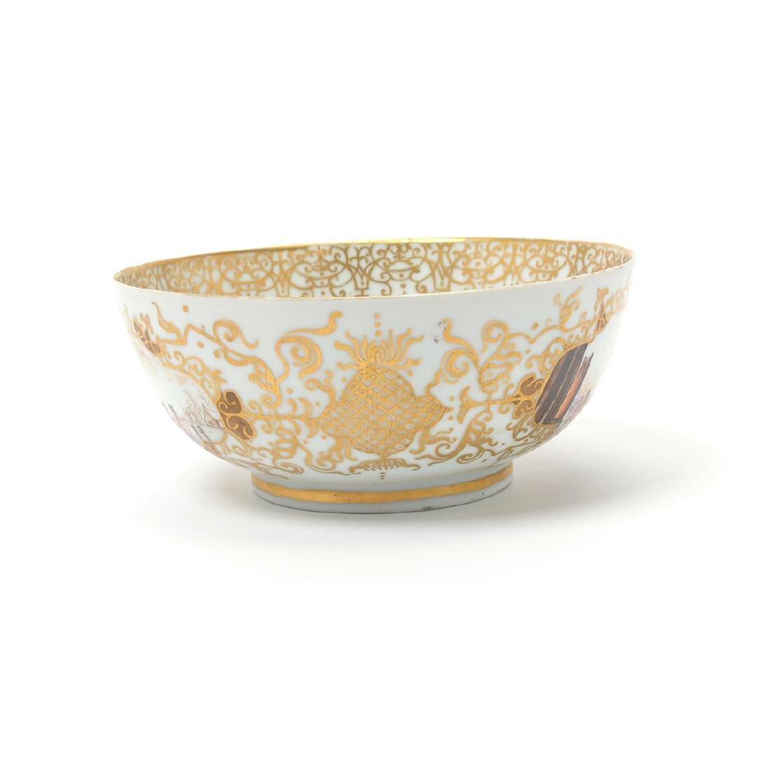 German Porcelain Bowl with Landscape Vignettes, 18th - 8