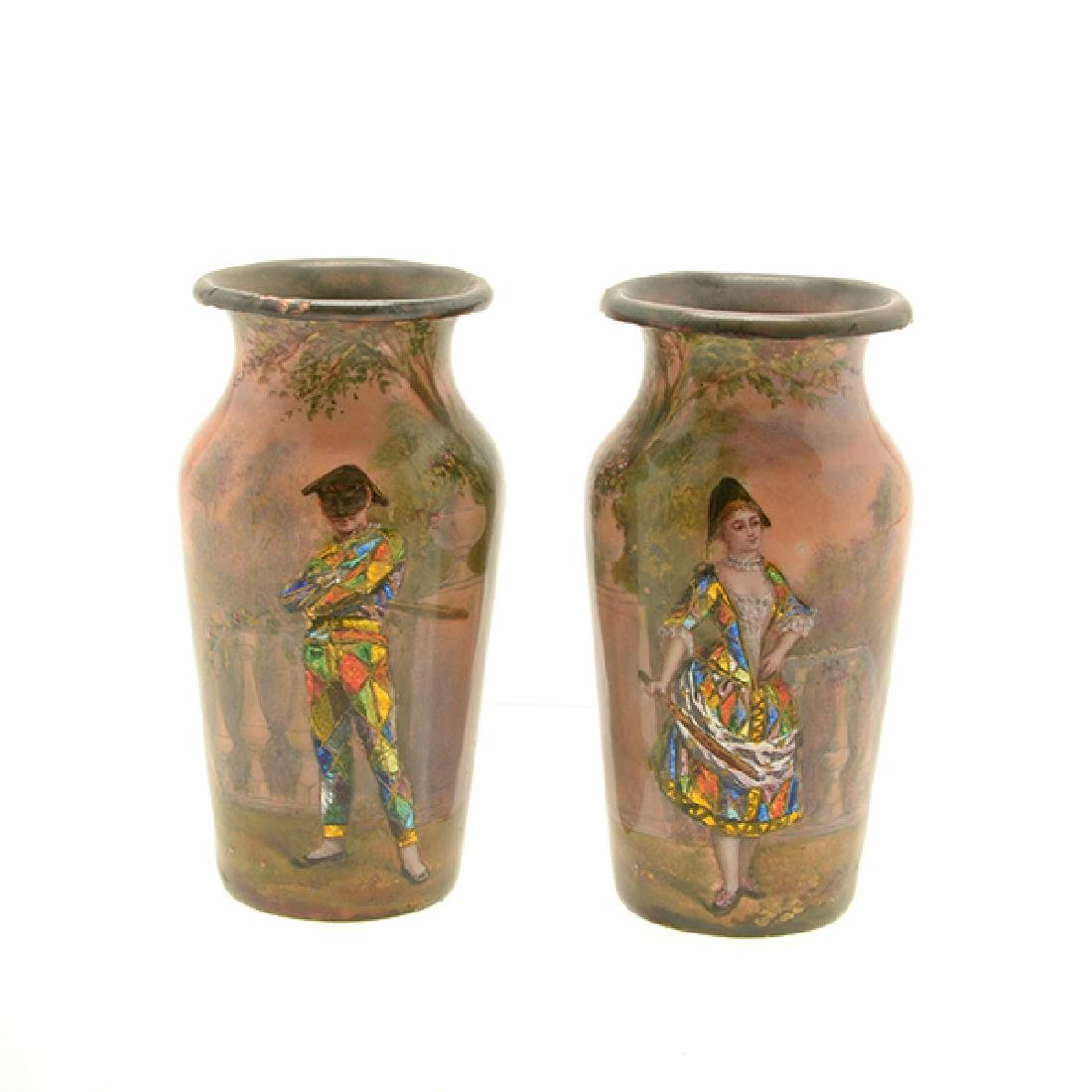 Pair of Art Nouveau Limoges Enamel Vases