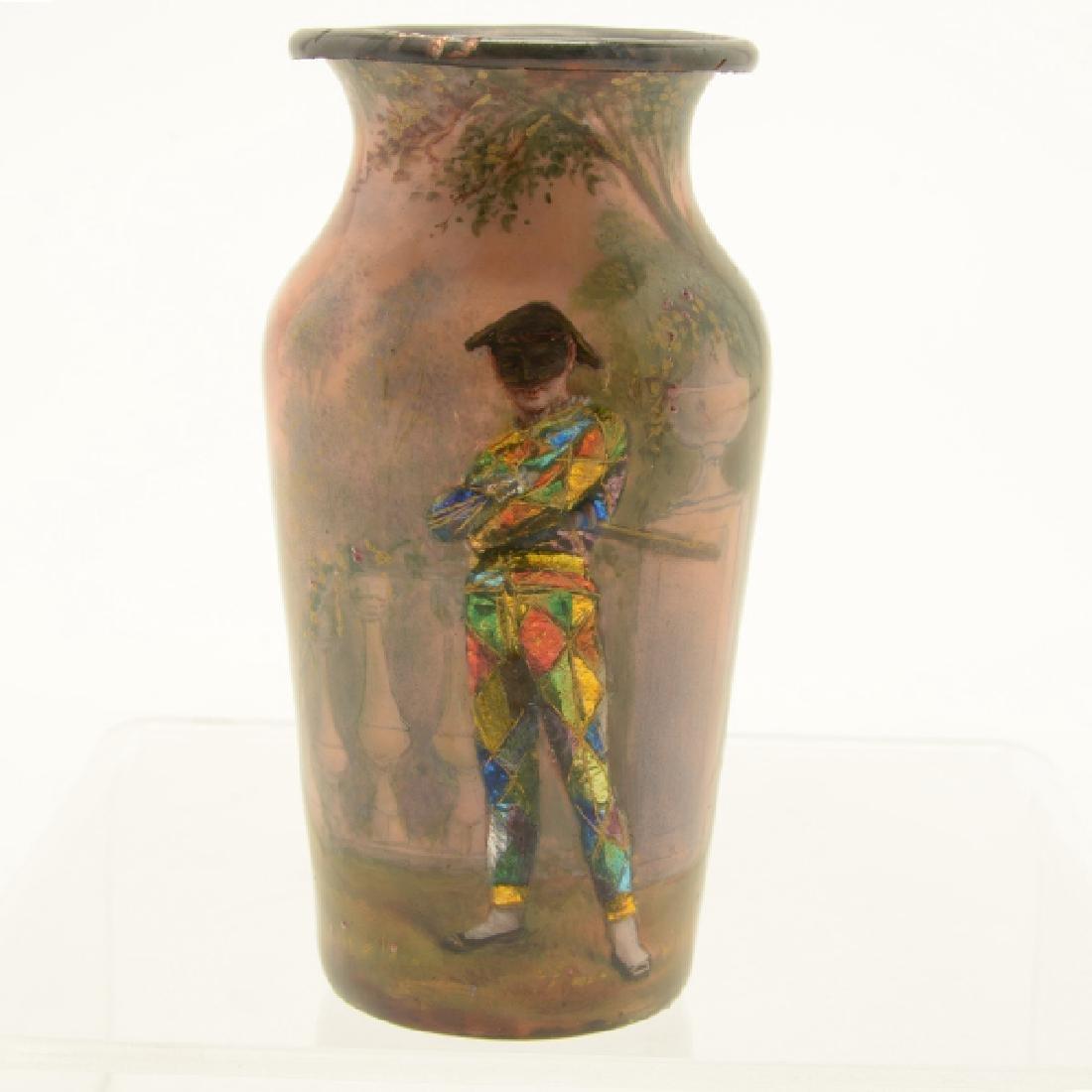 Pair of Art Nouveau Limoges Enamel Vases - 2