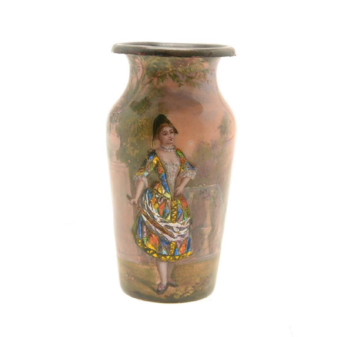 Pair of Art Nouveau Limoges Enamel Vases - 3
