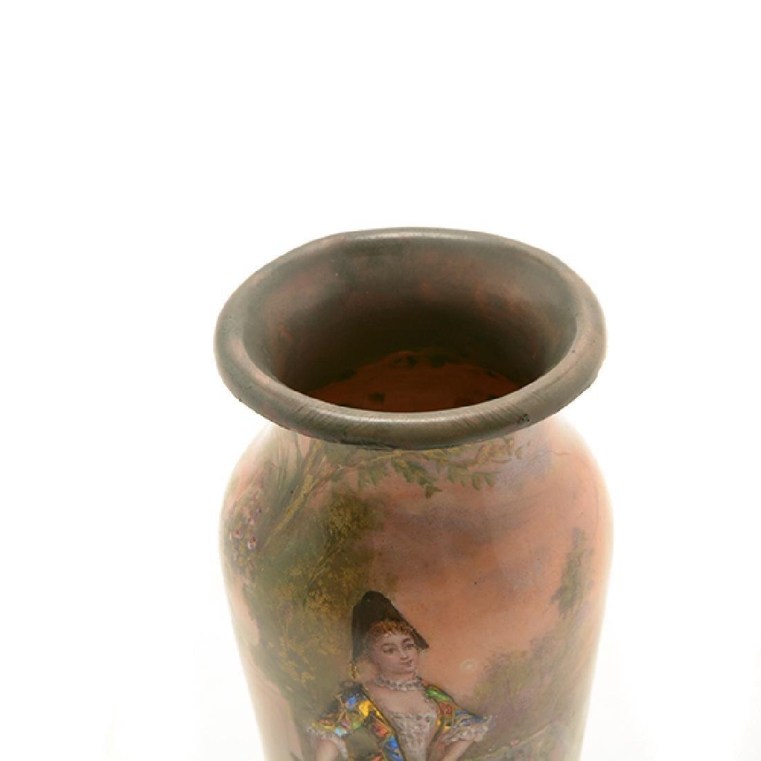 Pair of Art Nouveau Limoges Enamel Vases - 4