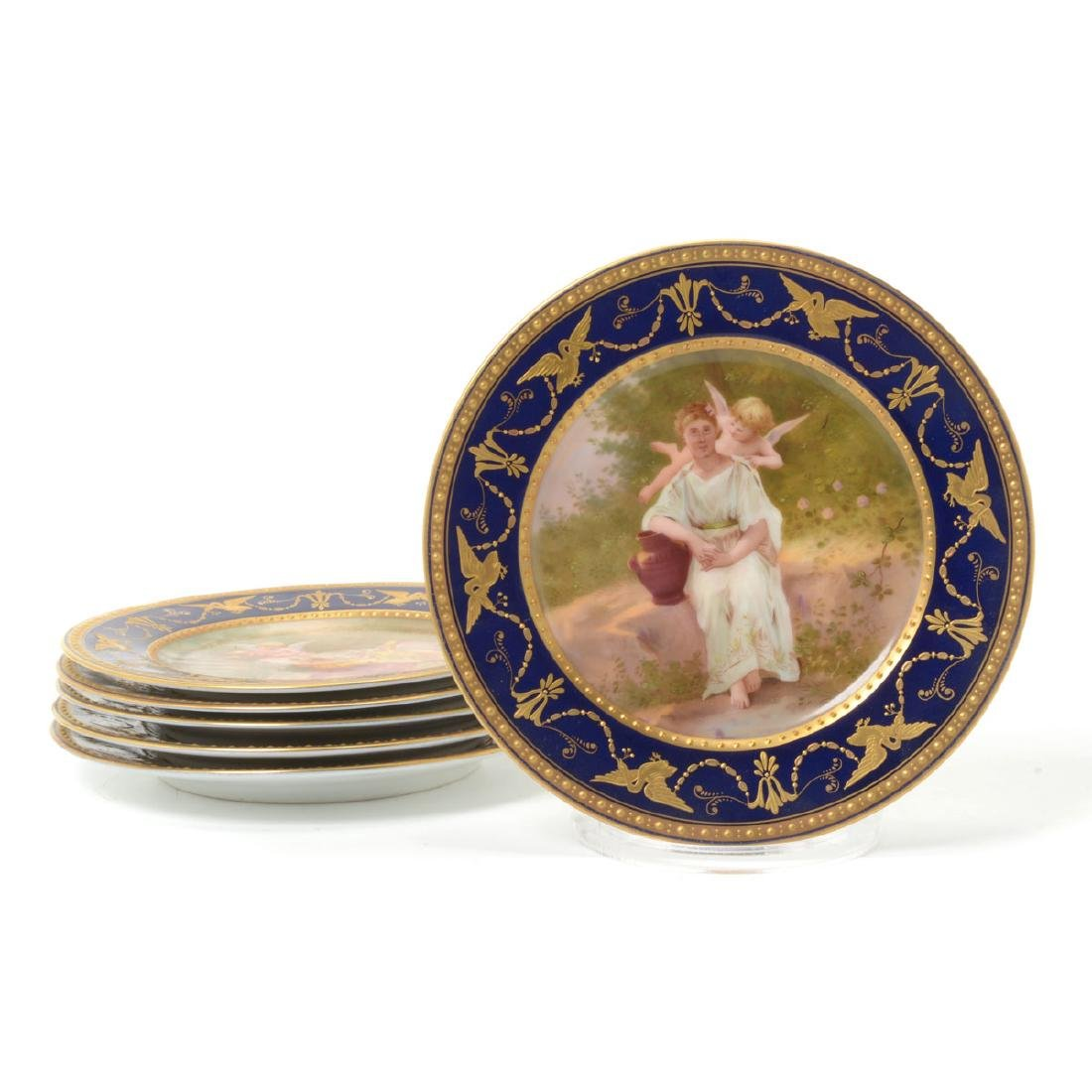 Six Vienna Style Porcelain and Gilt Cabinet Plates,