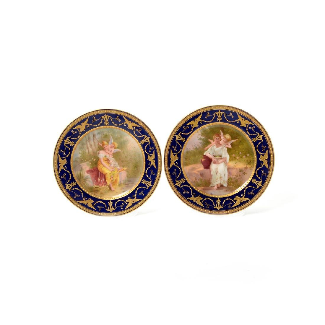 Six Vienna Style Porcelain and Gilt Cabinet Plates, - 2