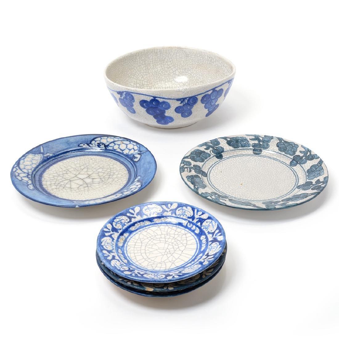 Lot of Dedham Art Pottery: three rabbit plates, a