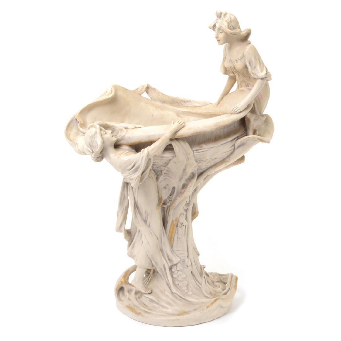 Large Art Nouveau Royal Dux Porcelain Compote Modeled