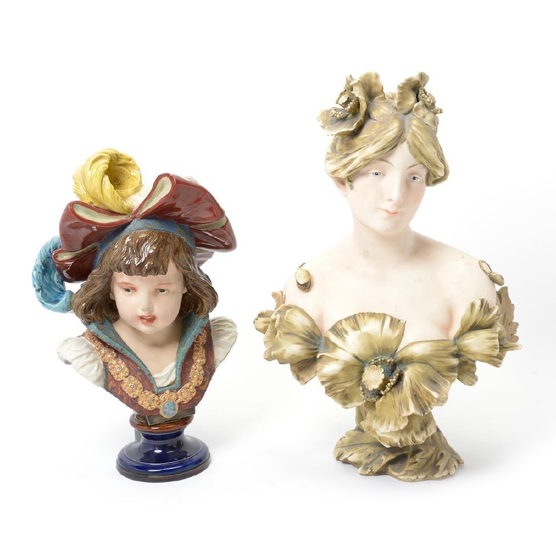 Austrian Art Nouveau Amphora Porcelain Bust of a Lady