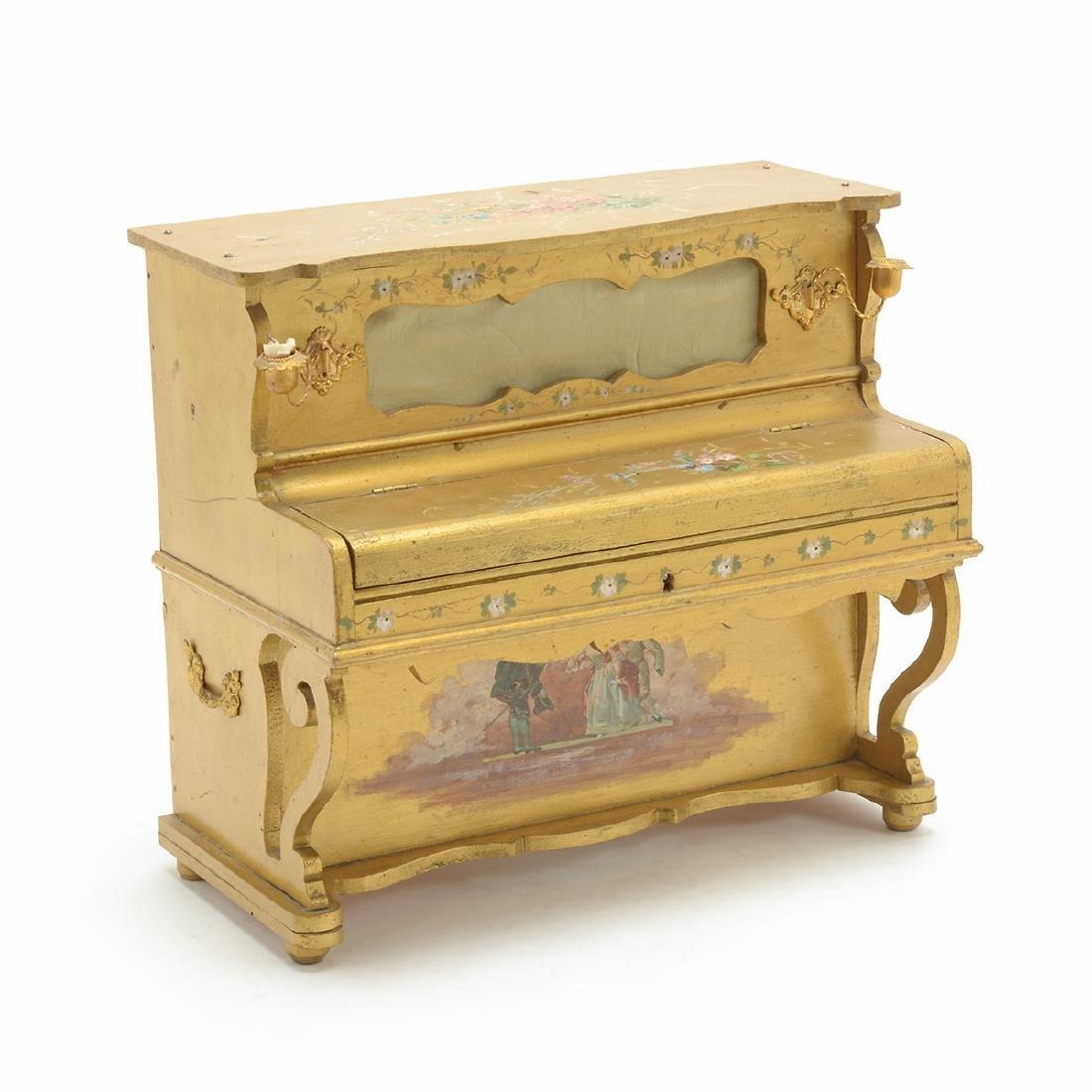 Swiss Gilt Vernis Martin Painted Miniature Piano