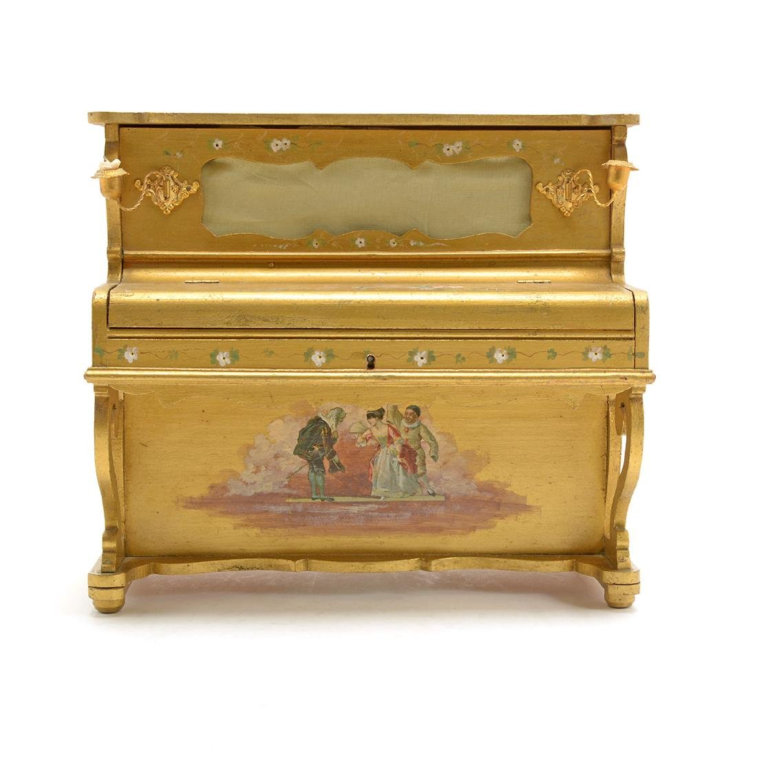 Swiss Gilt Vernis Martin Painted Miniature Piano - 2