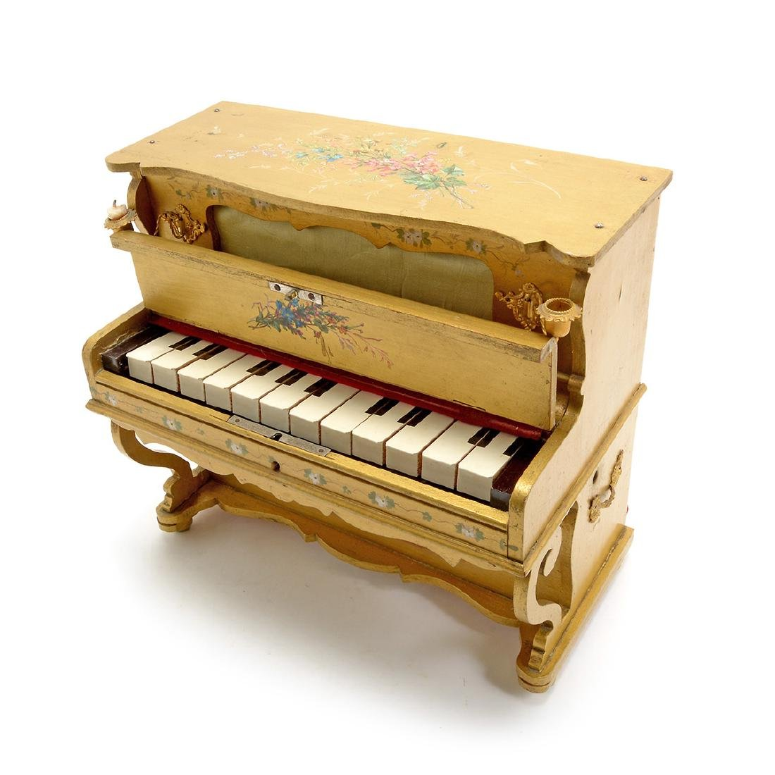 Swiss Gilt Vernis Martin Painted Miniature Piano - 3