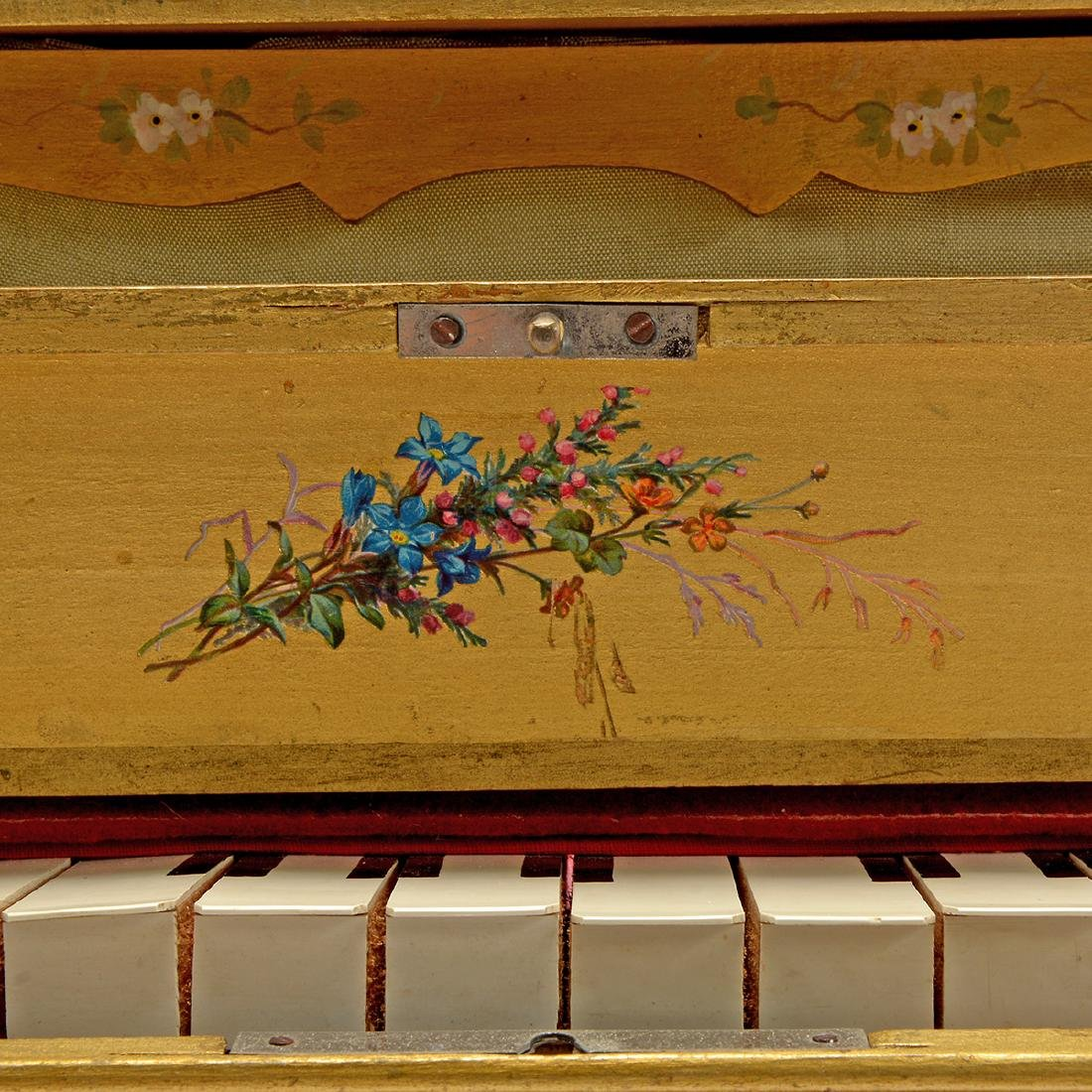 Swiss Gilt Vernis Martin Painted Miniature Piano - 4