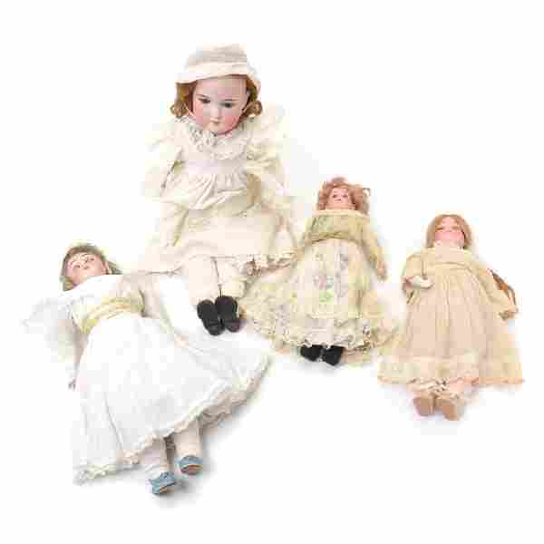 Four German Female Bisque Head Dolls