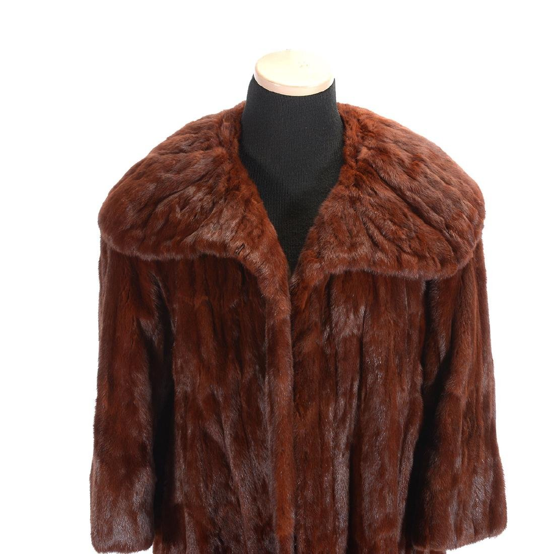 Full Length Sable Coat with Wide 'Lapel' Collar - 2