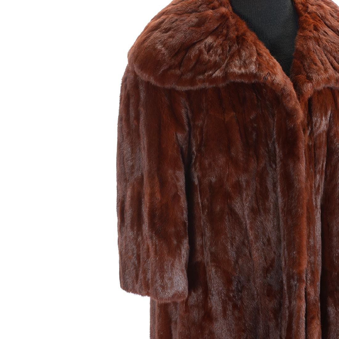 Full Length Sable Coat with Wide 'Lapel' Collar - 3