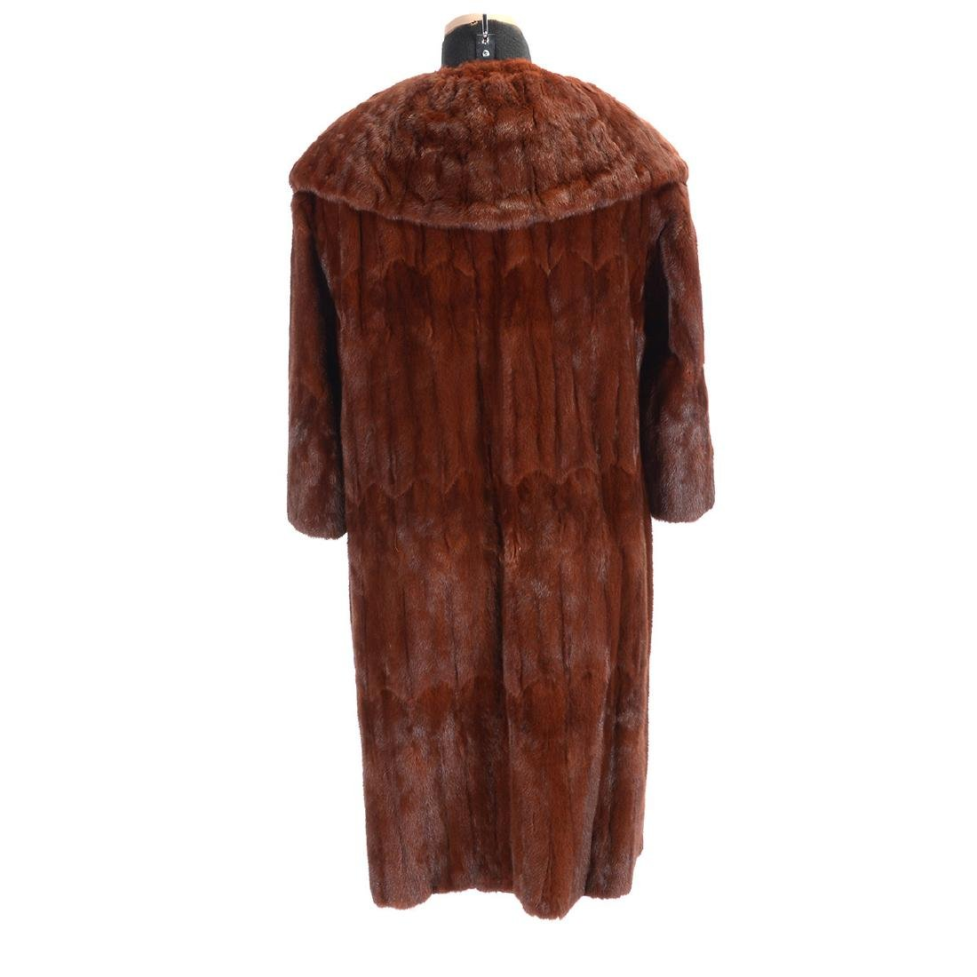 Full Length Sable Coat with Wide 'Lapel' Collar - 4