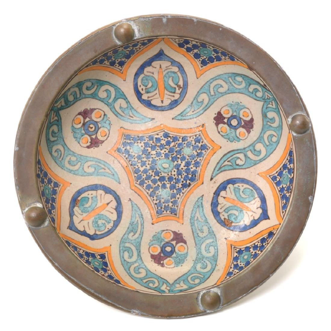 Copper Mounted Talavera Faience Bowl