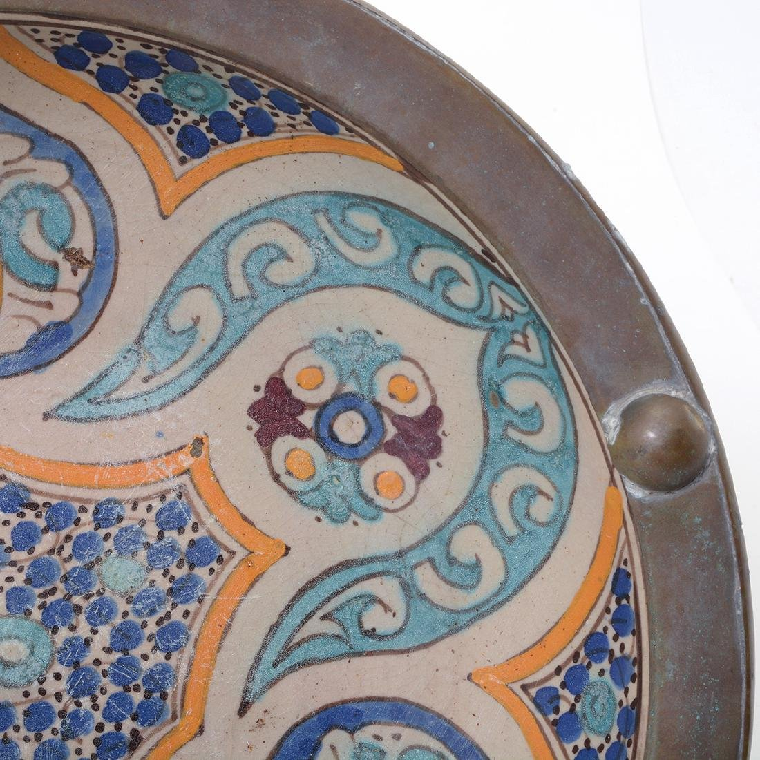 Copper Mounted Talavera Faience Bowl - 3
