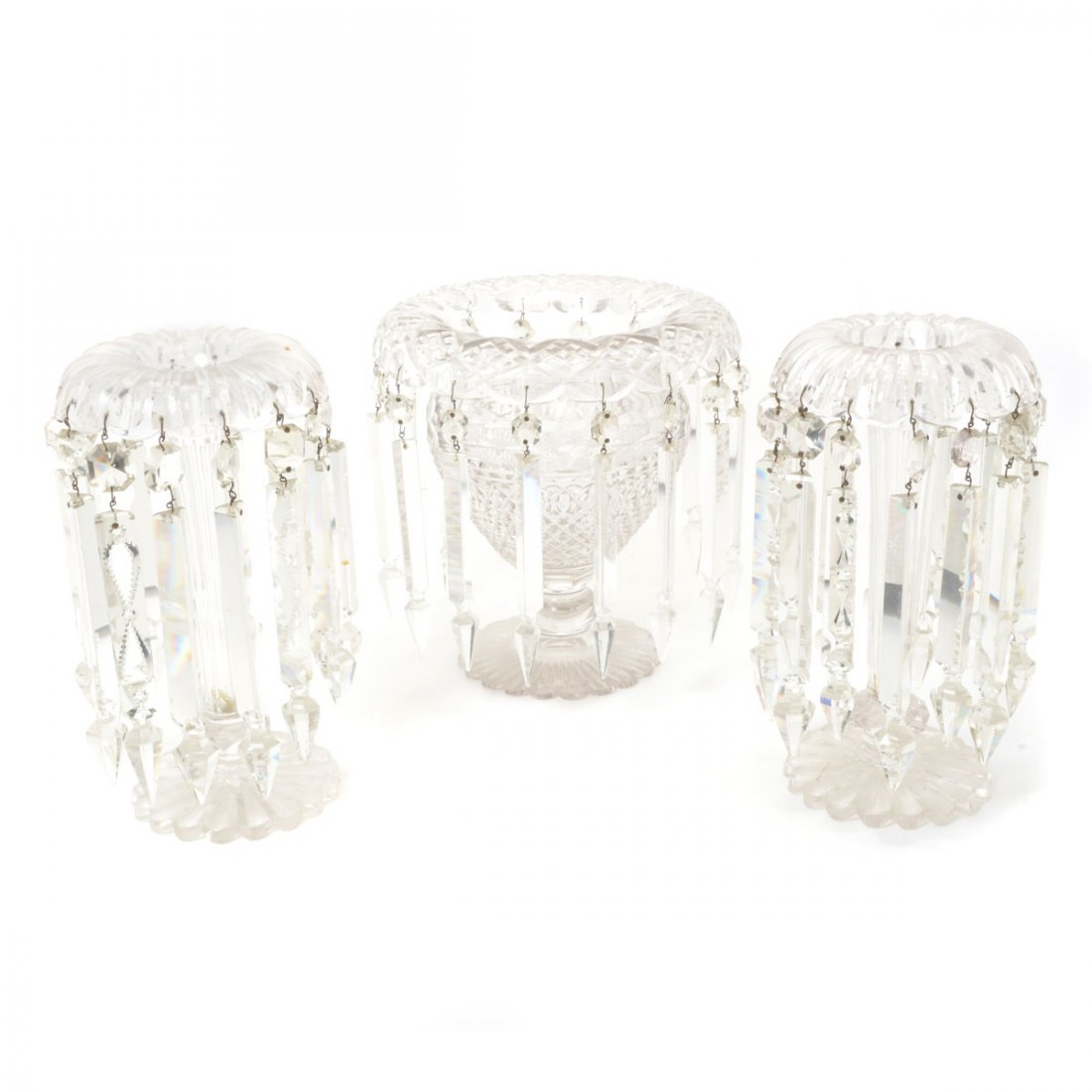 American Cut Glass Three Piece Table Garniture