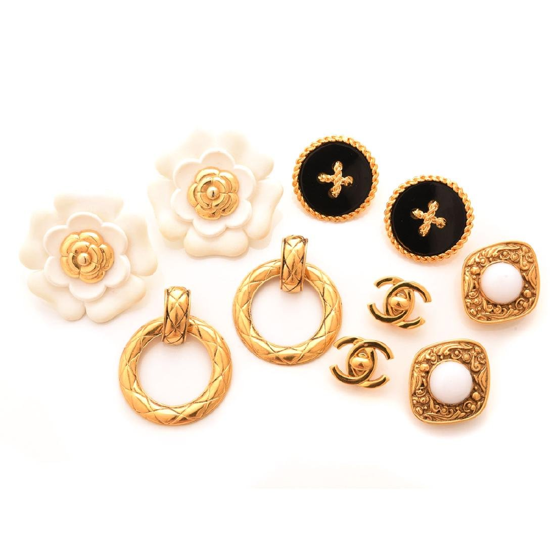 Collection of Five Pairs of Chanel Earrings.