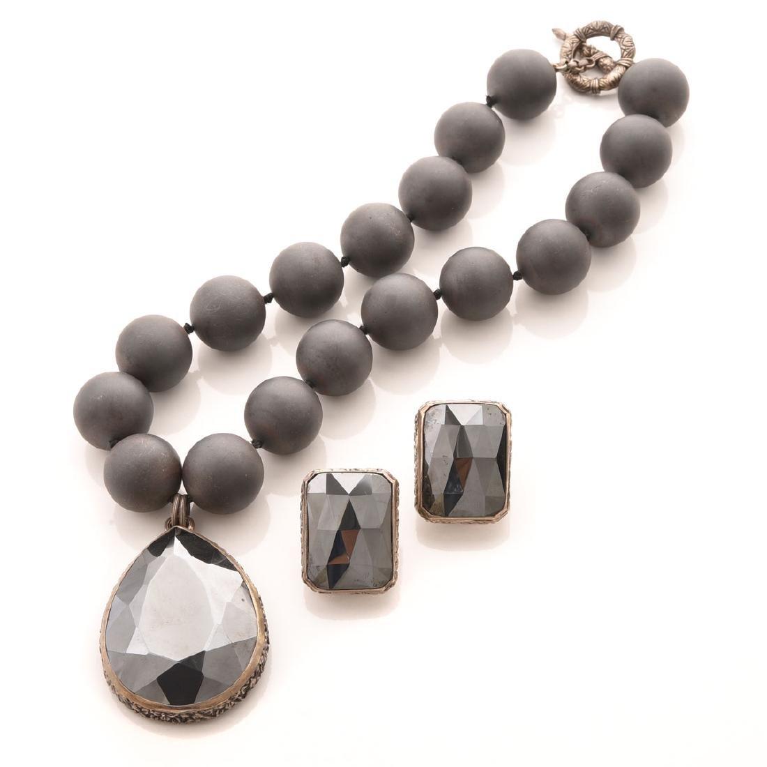 Stephen Dweck Hematite, Silver, Jewelry Suite.