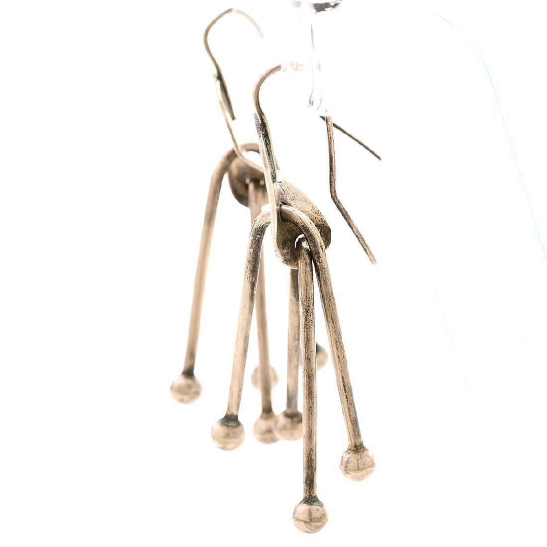 Pair of Art Smith Modernist Sterling Silver Earrings. - 3