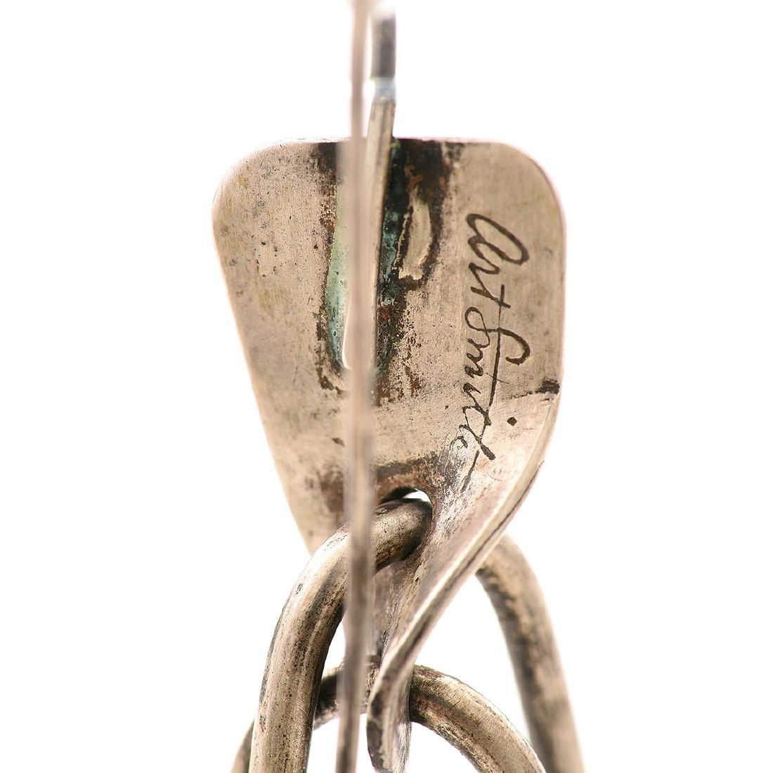 Pair of Art Smith Modernist Sterling Silver Earrings. - 5