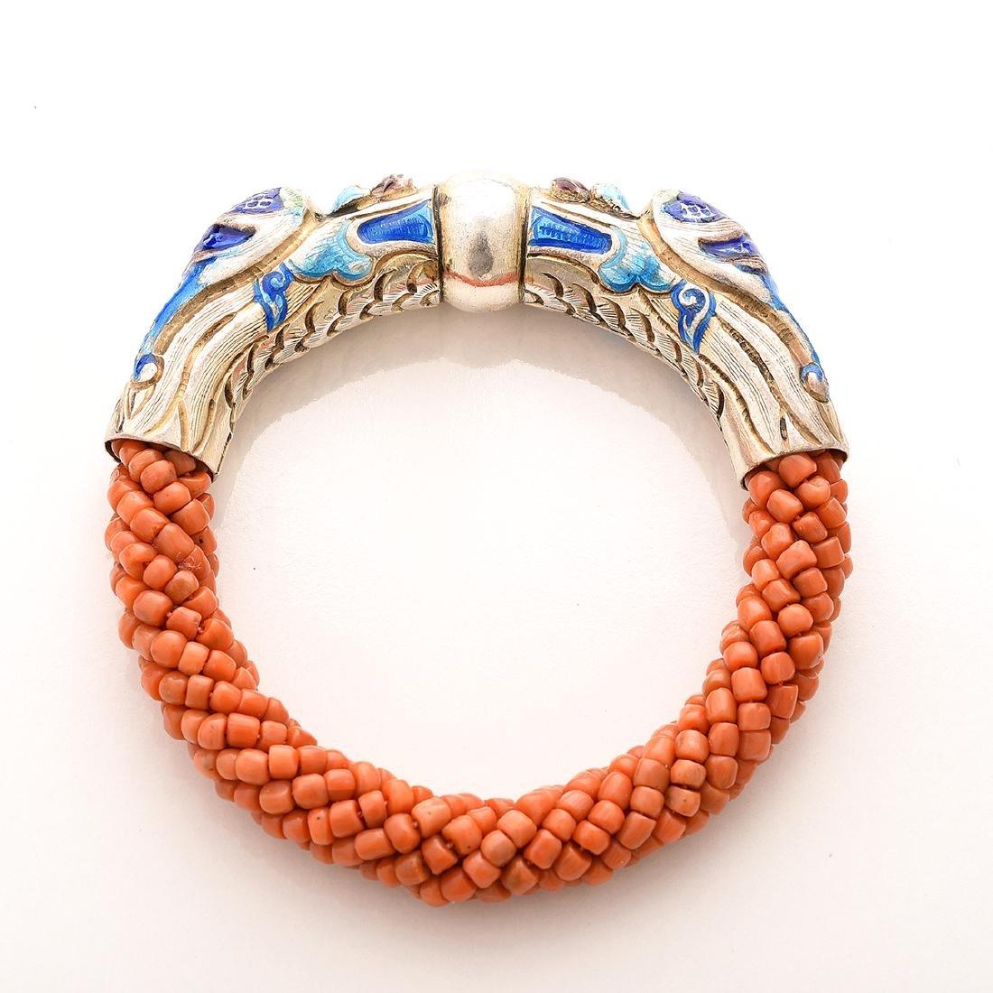Harry Fireside, Double Dragon Head, Bangle Bracelet. - 4