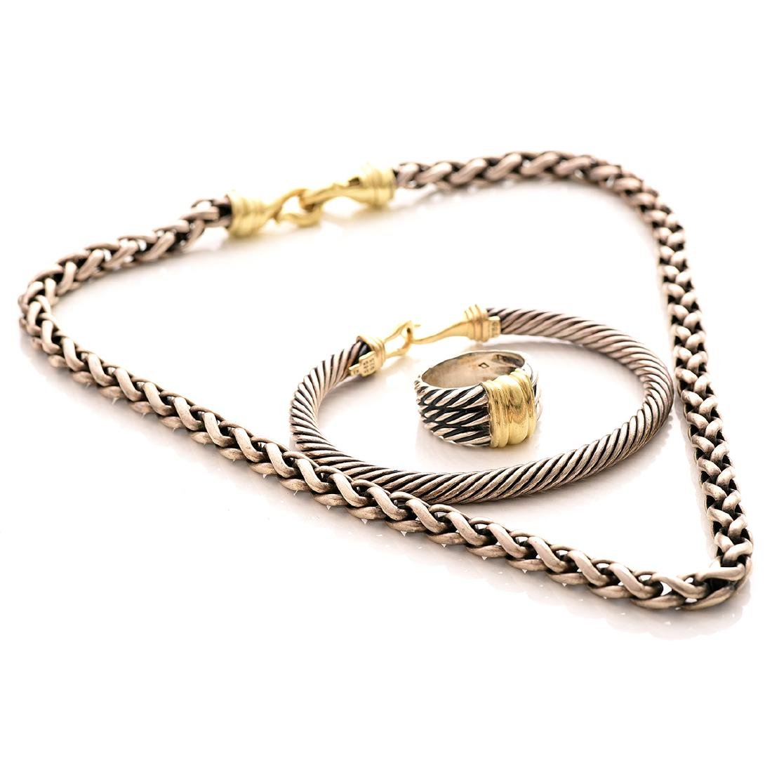 David Yurman, 14k Gold, Sterling Silver Jewelry Suite.