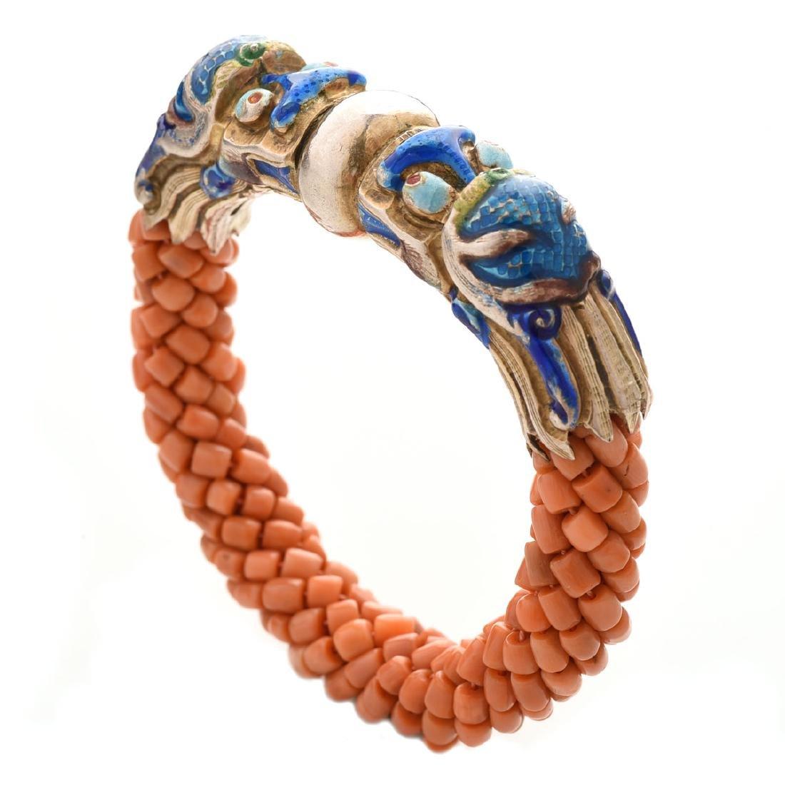 Harry Fireside, Double Dragon Head, Bangle Bracelet.