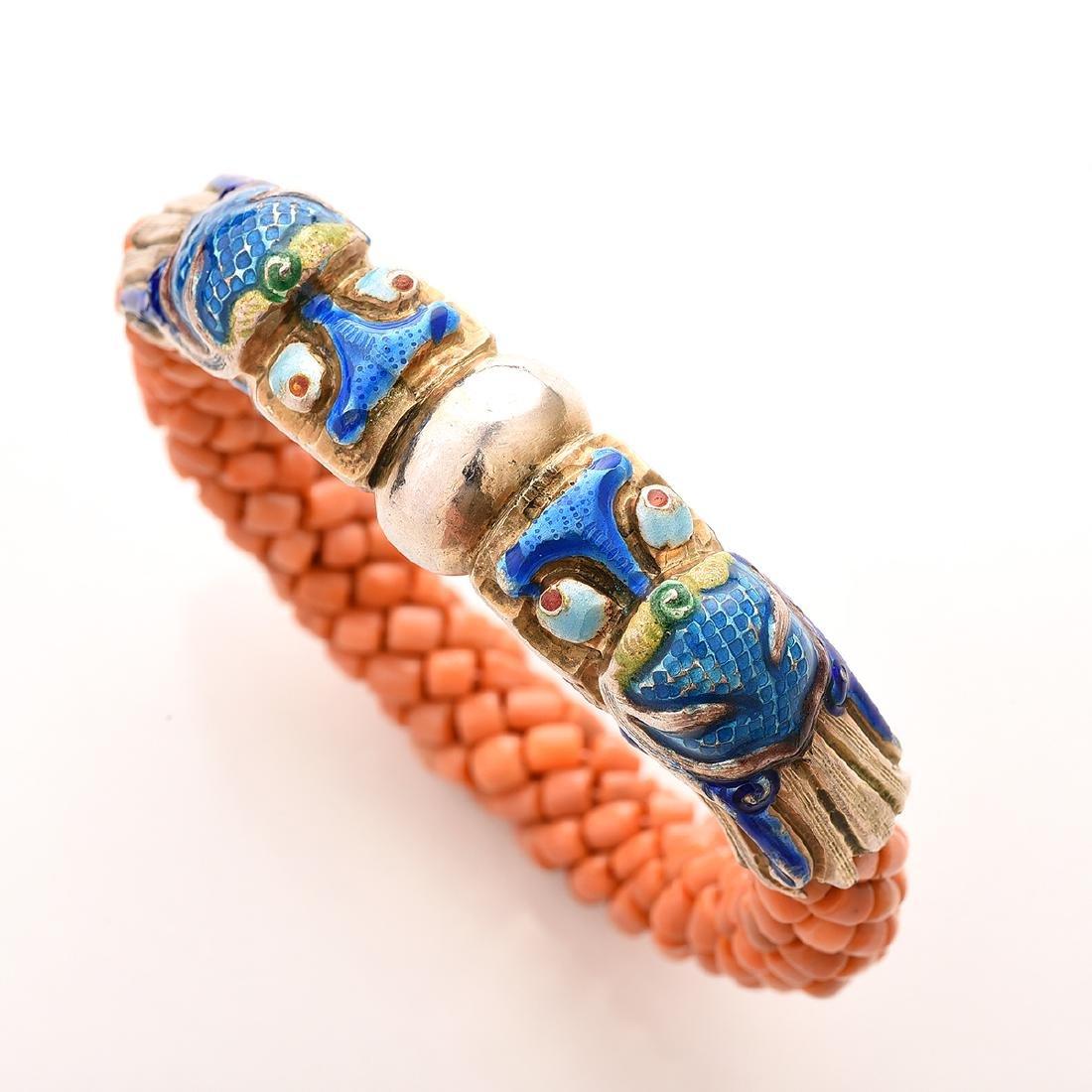 Harry Fireside, Double Dragon Head, Bangle Bracelet. - 2