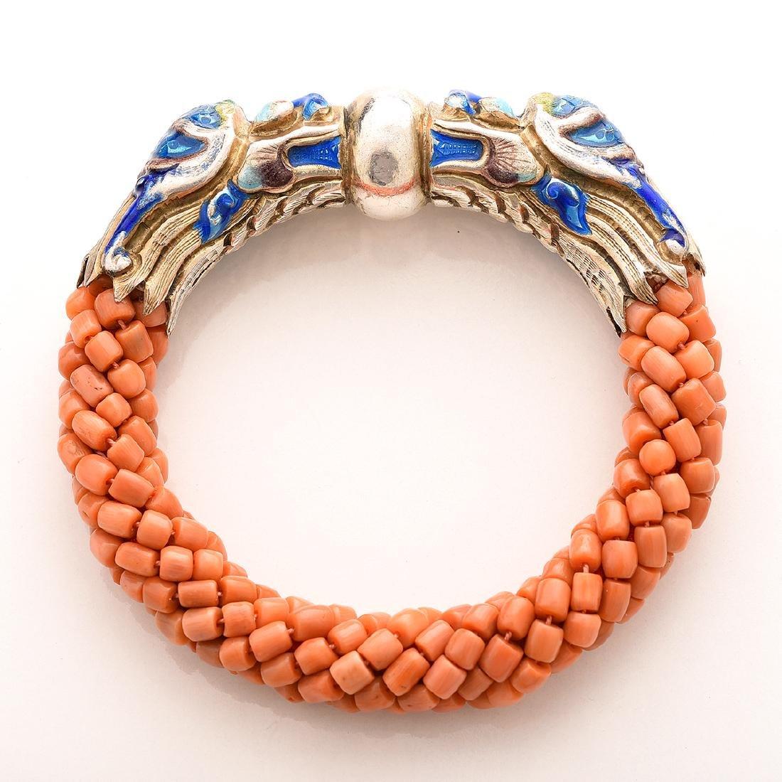 Harry Fireside, Double Dragon Head, Bangle Bracelet. - 3