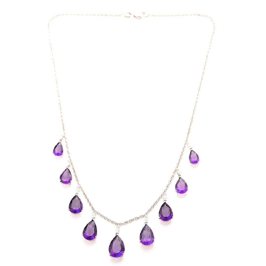 Amethyst, Diamond, 18k White Gold Necklace.