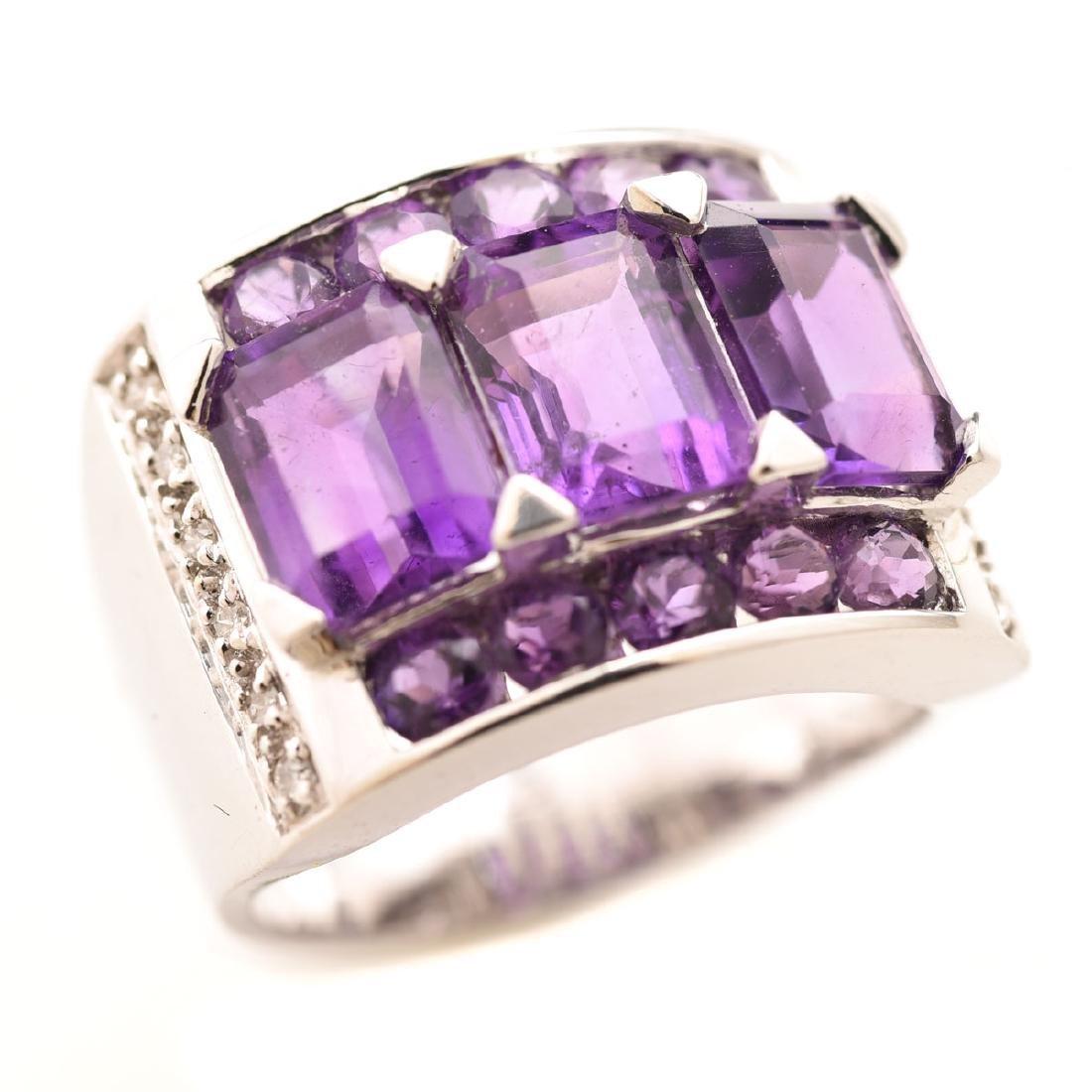 Amethyst, Diamond, 14k White Gold Ring.