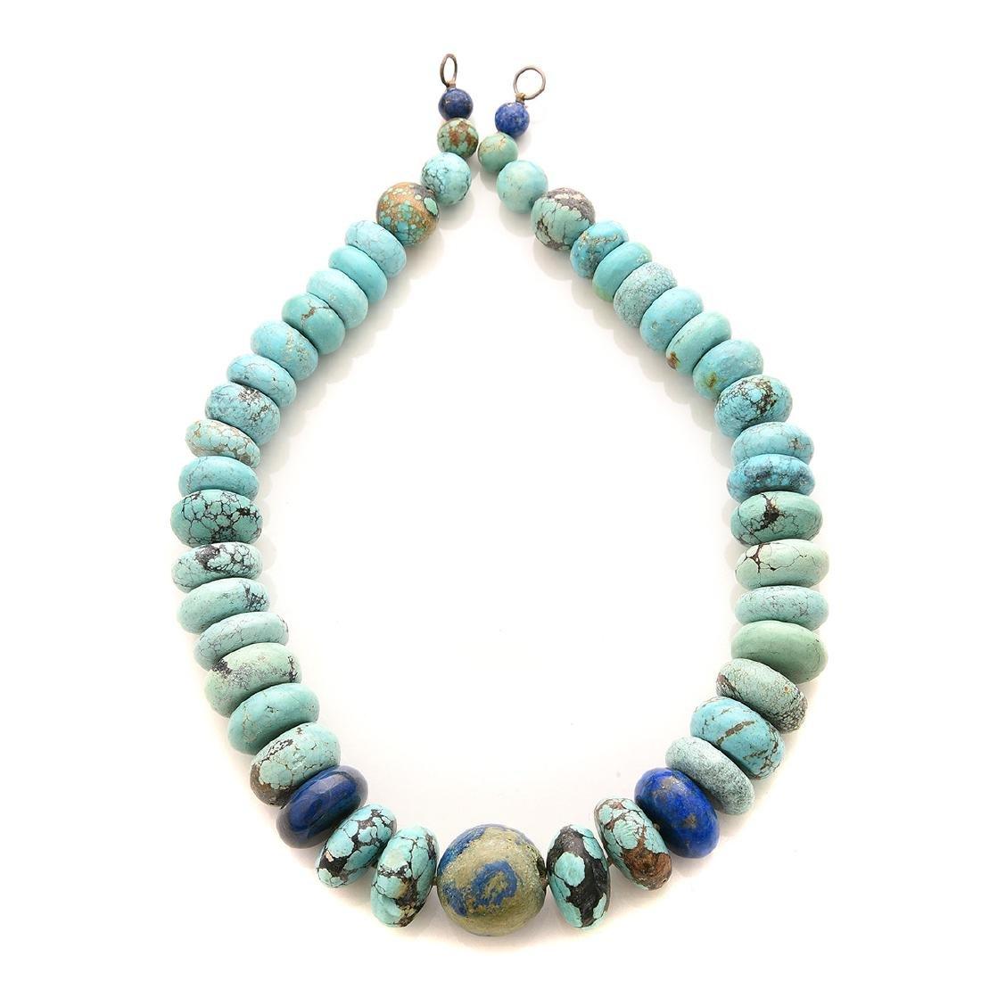 Turquoise, Lapis Lazuli, White Metal Necklace.