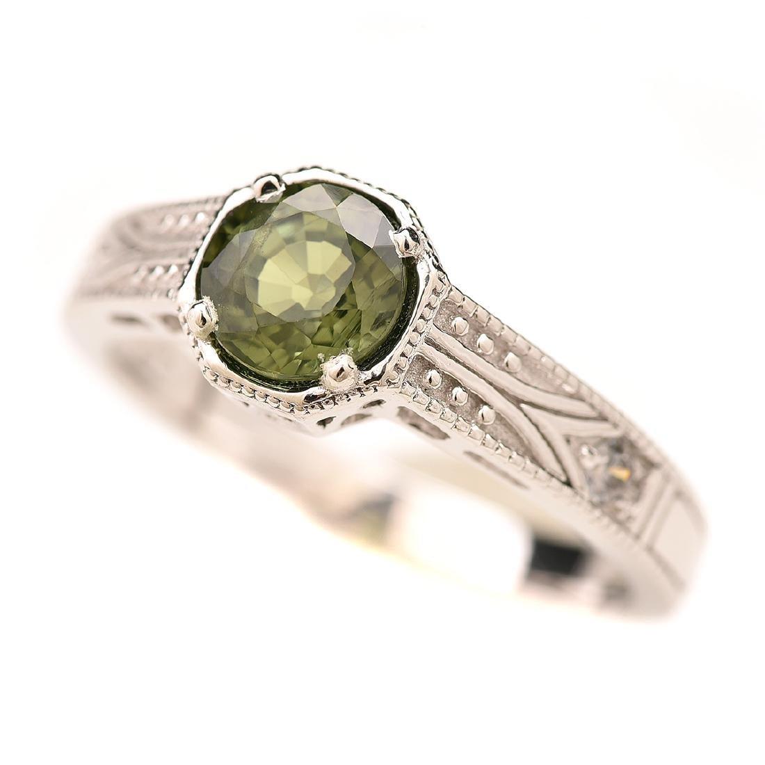 Green Tourmaline, Diamond, Platinum Ring.