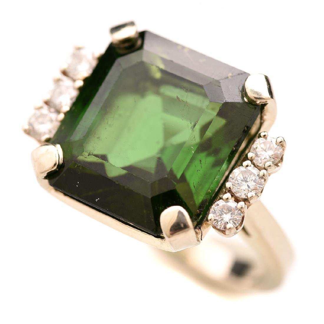 Tourmaline, Diamond, 14k White Gold Ring.