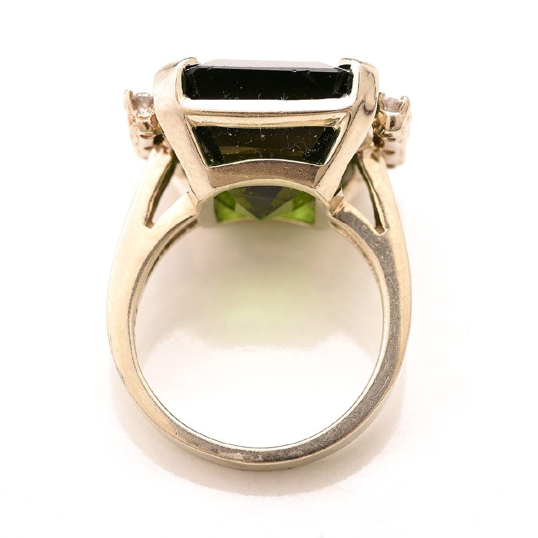 Tourmaline, Diamond, 14k White Gold Ring. - 3
