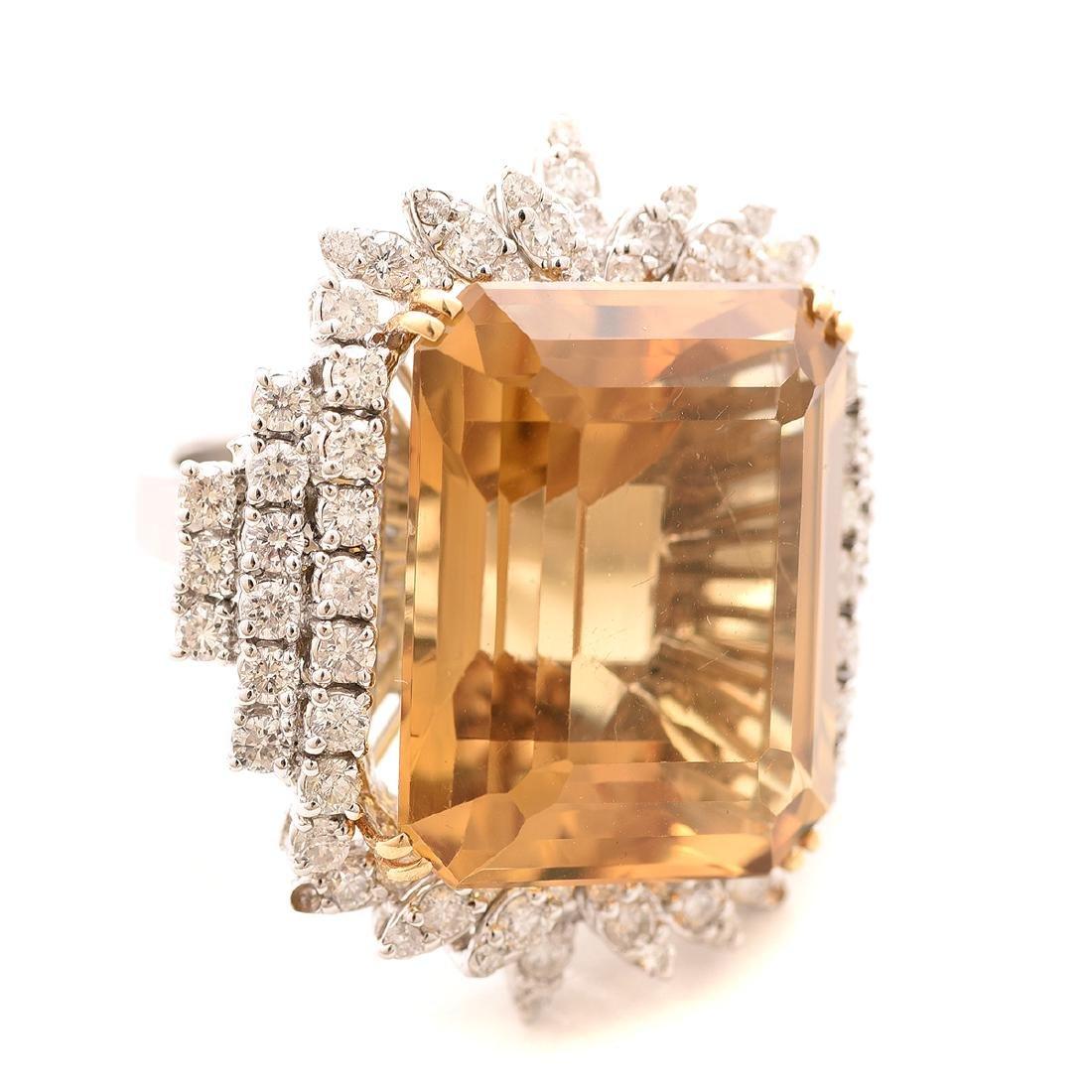 Citrine, Diamond, 18k White Gold Ring.
