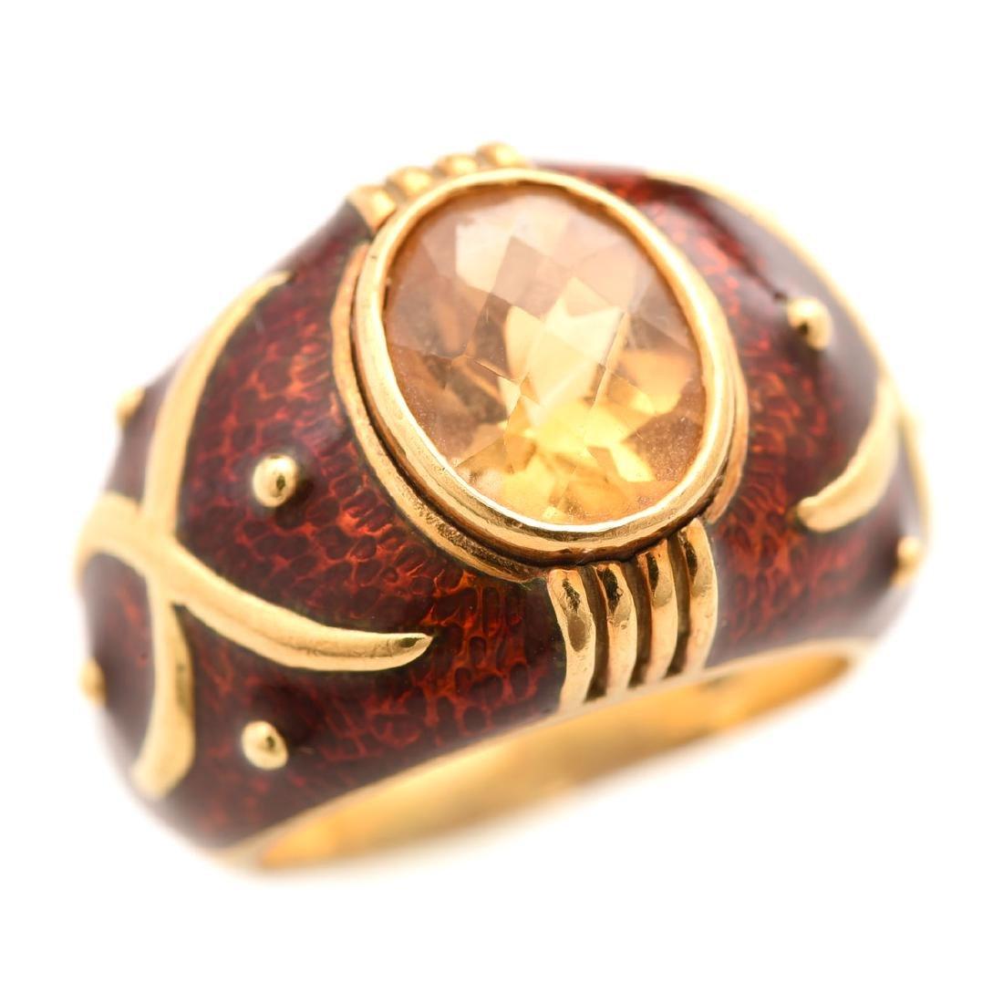 Citrine, Guilloche Enamel, 18k Yellow Gold Ring.
