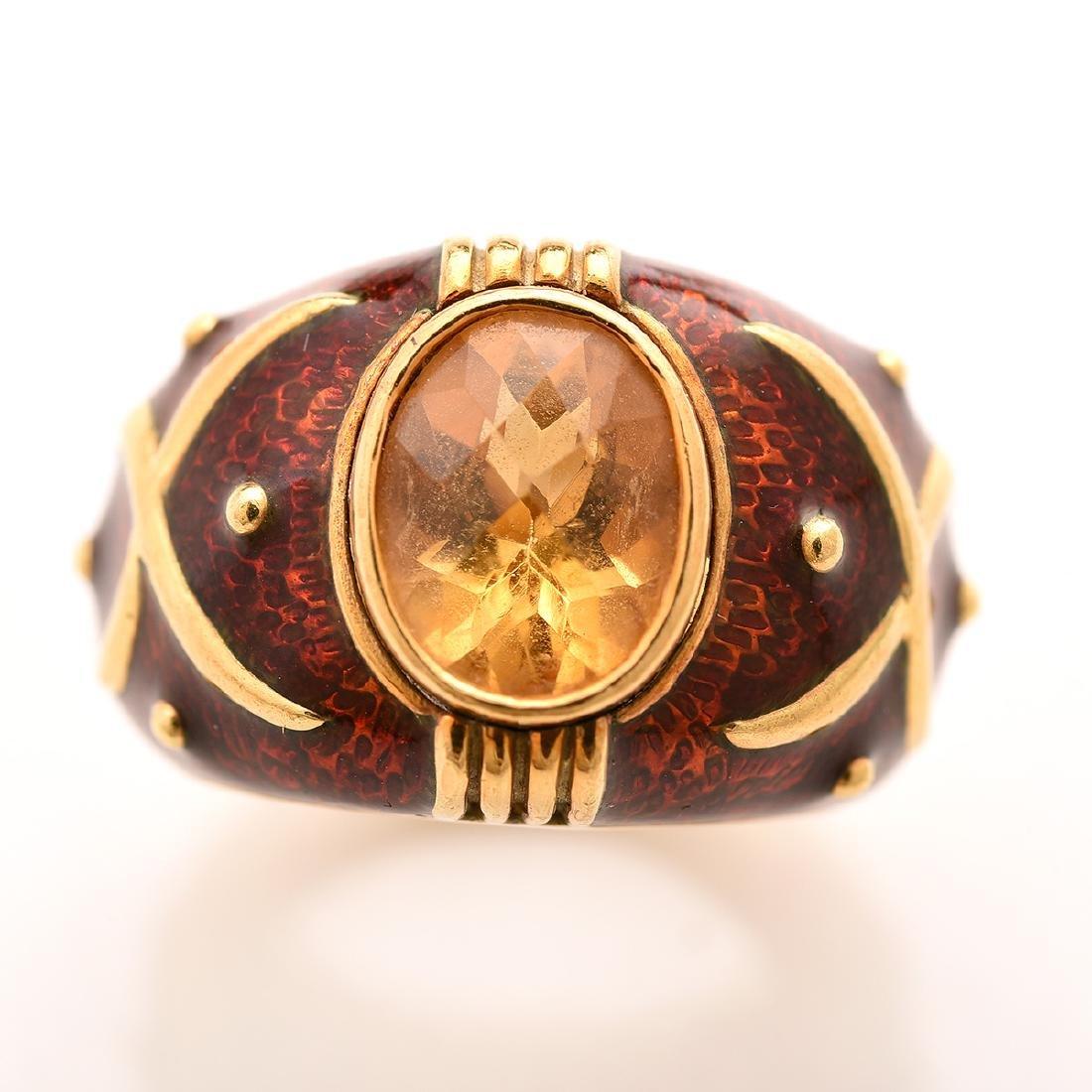 Citrine, Guilloche Enamel, 18k Yellow Gold Ring. - 2