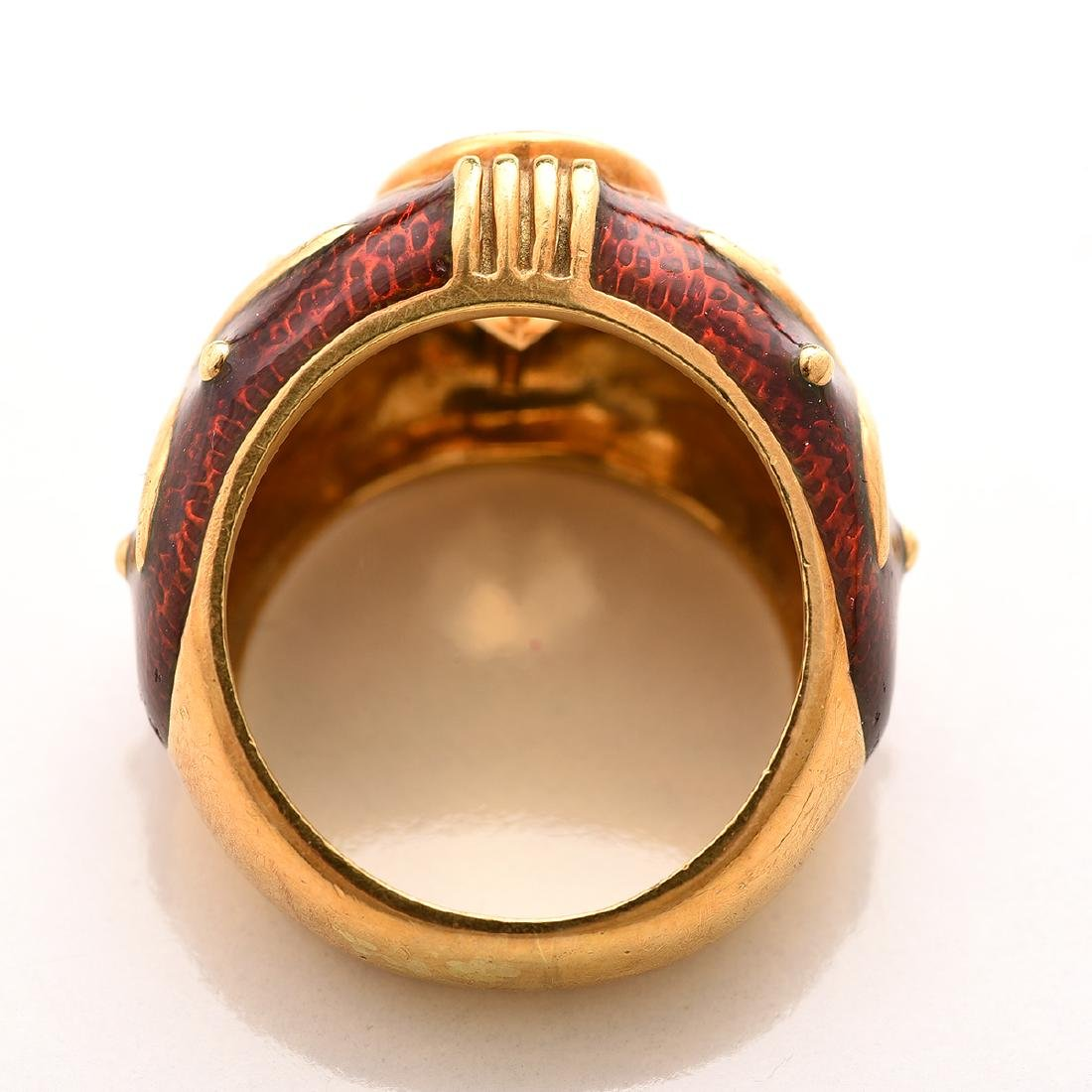 Citrine, Guilloche Enamel, 18k Yellow Gold Ring. - 3