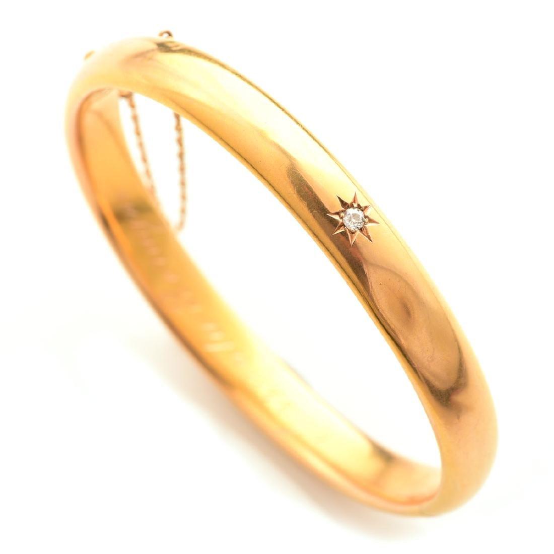 Diamond, 14k Gold, Bangle Bracelet.