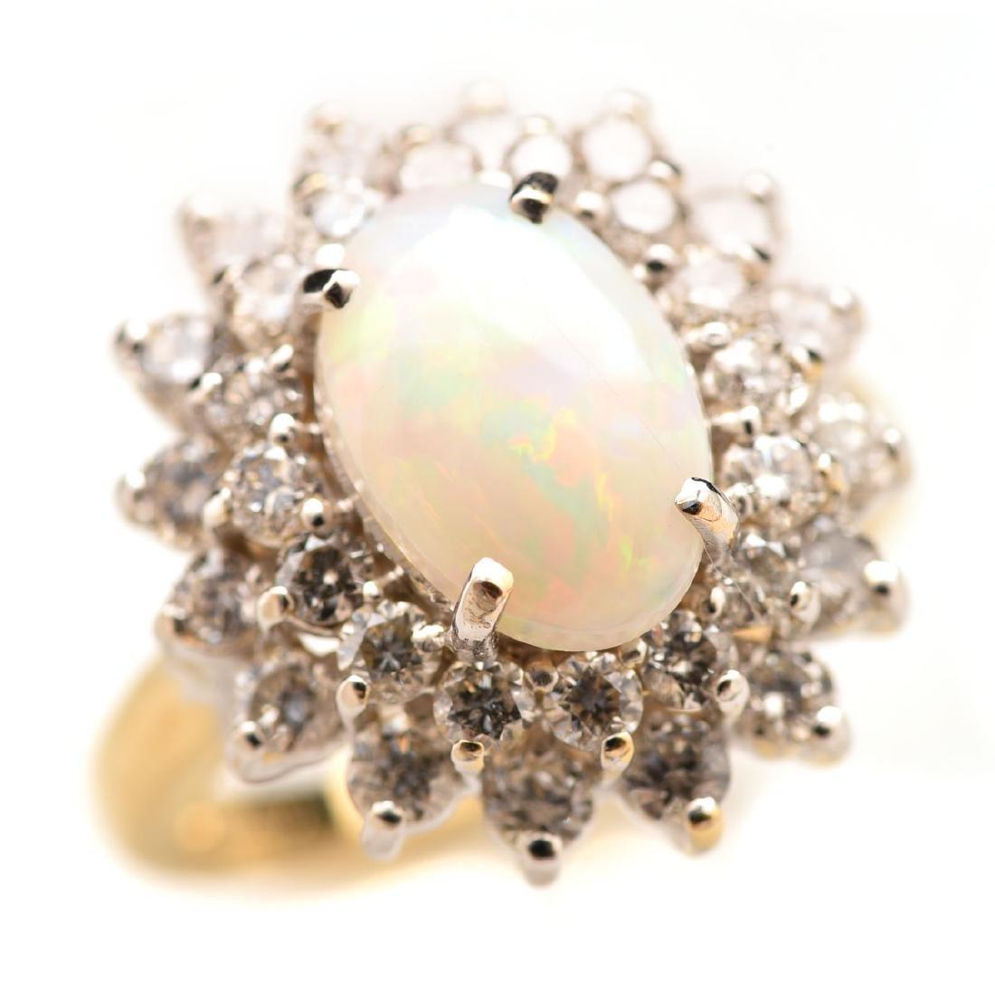 Opal, Diamond, 18k Gold Ring.