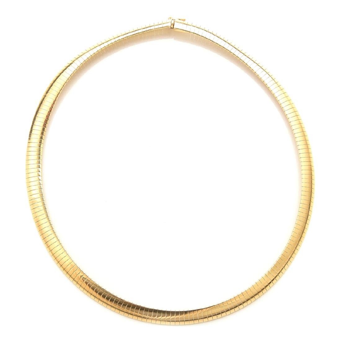 14k Yellow Gold Omega Collar.
