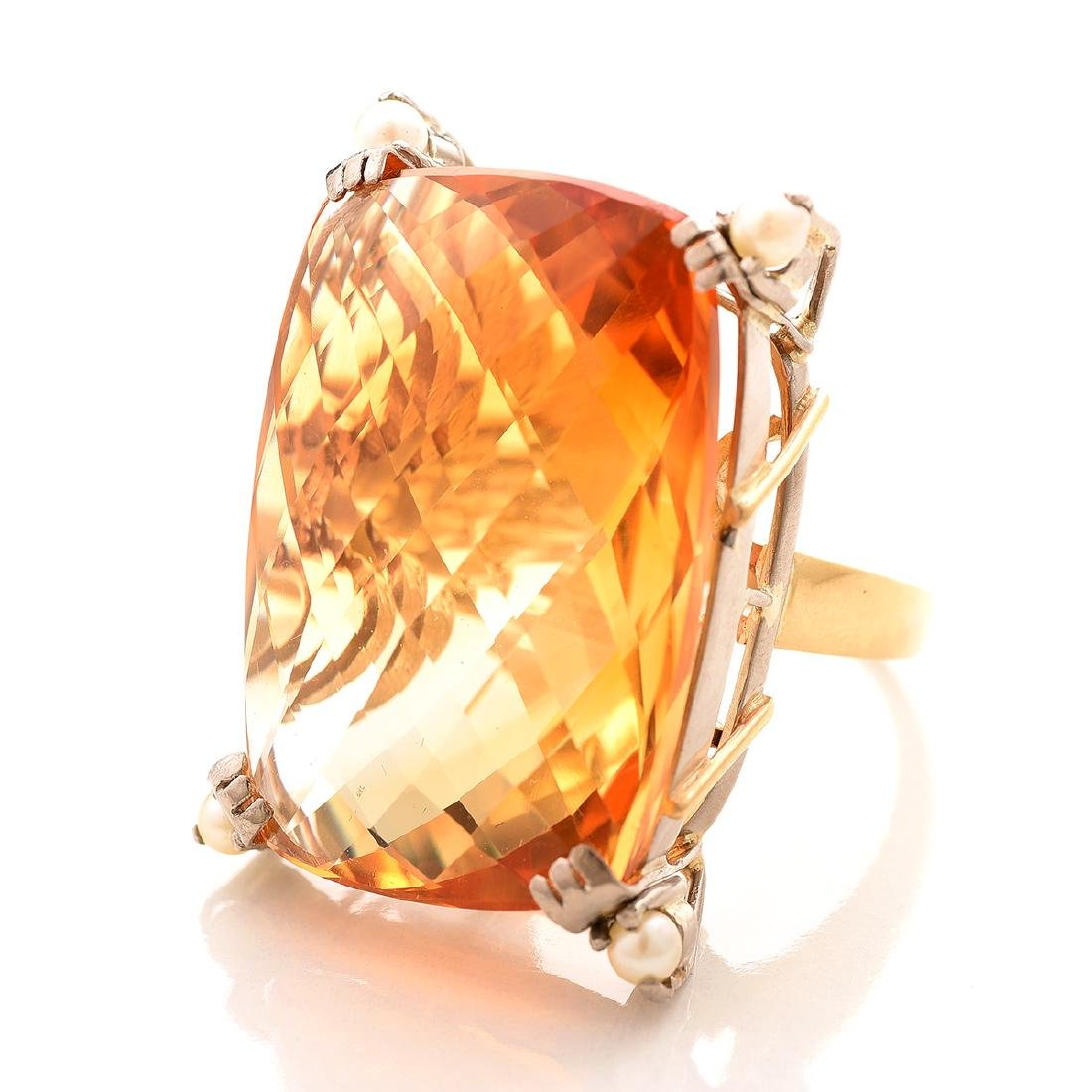 Citrine, Cultured Pearl, 14k Yellow Gold Ring.