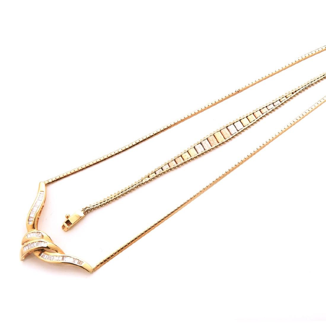 Collection of Diamond, 14k Gold Necklace and Bracelet.