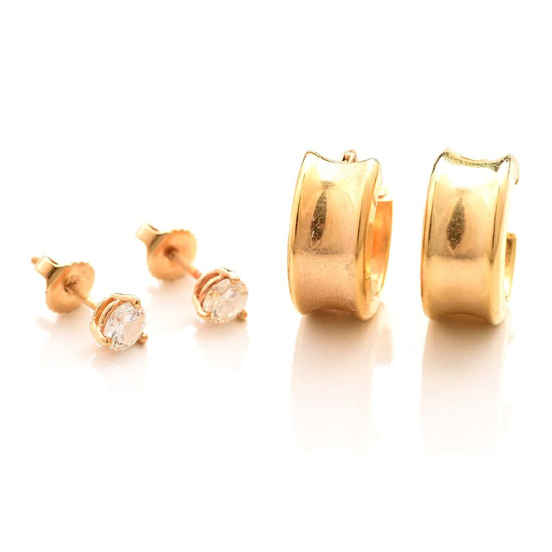 Collection of Diamond, 14k Gold Earrings.