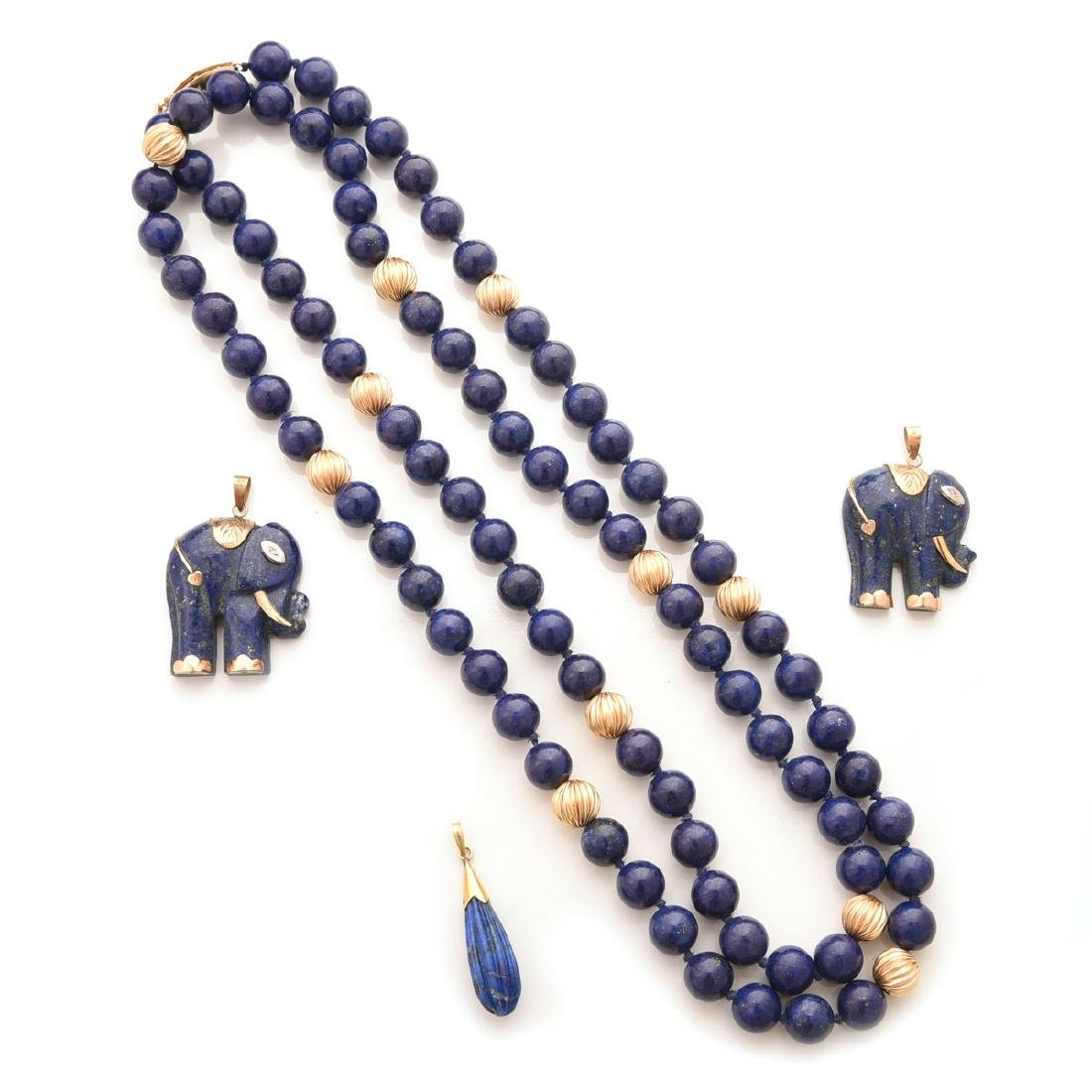Collection of Lapis, 14k Yellow Gold Jewelry Items.