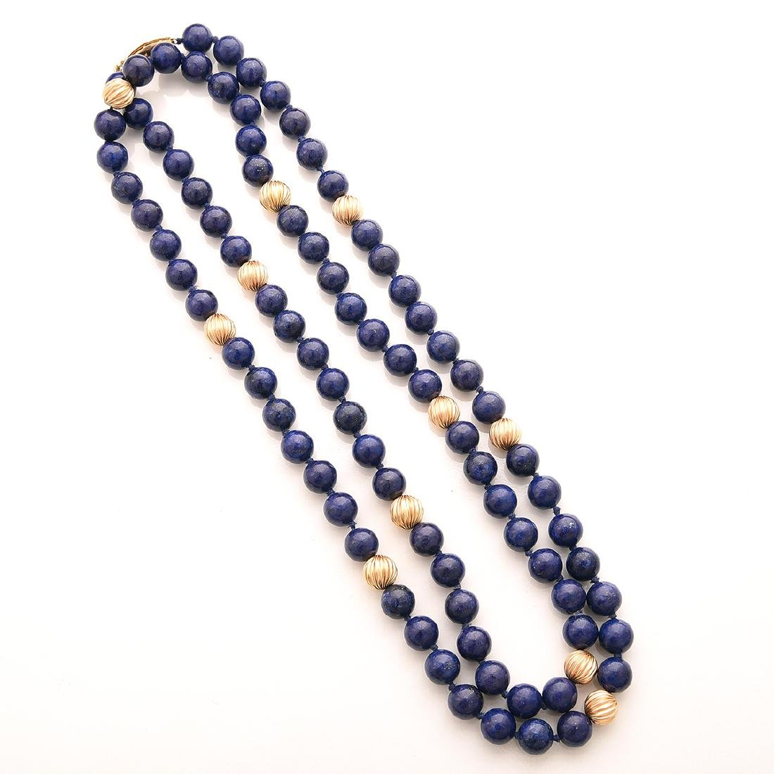 Collection of Lapis, 14k Yellow Gold Jewelry Items. - 2